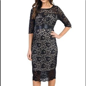 Black Taupe Lace Maternity Bodycon Dress Small
